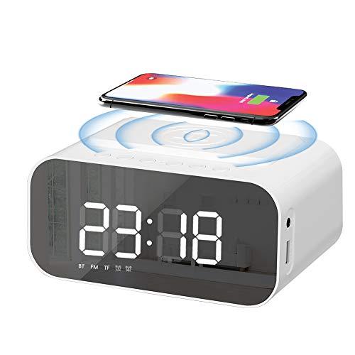 Achort Radio despertador con altavoz Bluetooth, reloj despertador digital de carga inalámbrica, pantalla LED con espejo con puerto USB, entrada auxiliar, llamadas manos libres para dormitorio, oficina