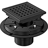 """✅【MODERN DESIGN】The black shower drain size is 4.3"""" length, 4.3"""" width, 2"""" central outlet.,which fits in any part of the shower.Matte black color is high end and textured.The square drain cover with grid design to enhance water flowing,which perfects..."""