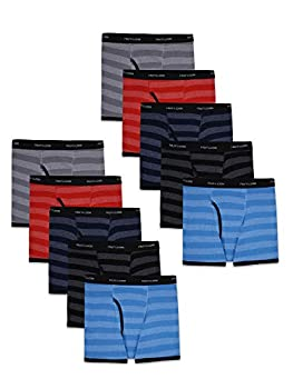 Fruit of the Loom Tag Free Cotton Boxer Briefs Boy - 10 Pack - Traditional Fly Stripes Large