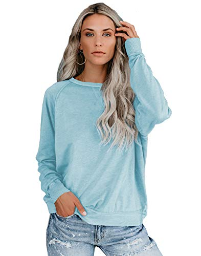 iGENJUN Womens Casual Batwing Sleeve Plus Size Cotton Blend Pullover Tops,M,Light Blue