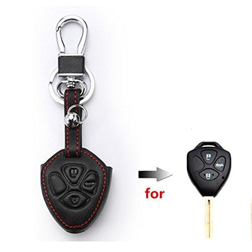 Happyit Lederen autosleutelhoesje voor Toyota Prado Mark Corolla Camry Reiz Crown 3 knoppen afstandsbediening