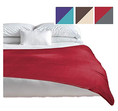 TOP Waterproof Blanket - Keeps Everything 100% Dry - No Matter How Wet It Gets! Deluxe Bed Mattress and Furniture Protector for People and Pets, Soft Fleece (Red Gray Reversible, Jumbo 80x60)