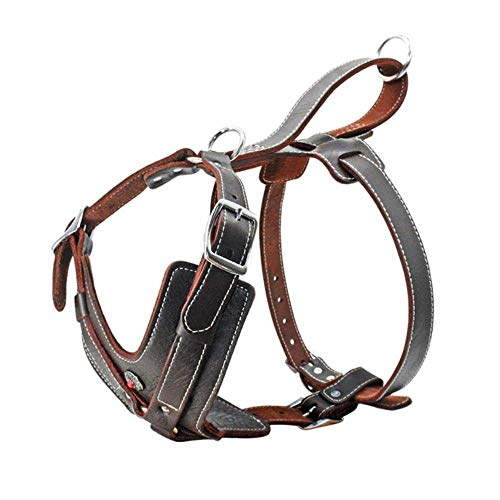 Pet Harness Echt leer harnas for grote honden Pet Training Vest Met Quick Control Handle verstelbaar for Labrador Pitbull K9, Brown, Xl Knap en praktisch hondenvest, hondenriem