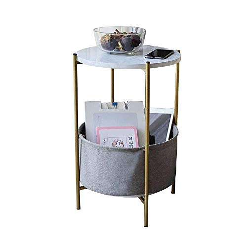 Living Room Coffee Table round Phone Table Storage Basket side Table, Grey Fabric 15.2 x 21.9 Inches