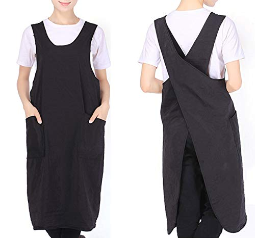 Frauen Schürze Wasserdicht Backen Kochen Gartenarbeit Funktioniert Kreuz Zurück Kleid Mit 2 Taschen,Schwarz