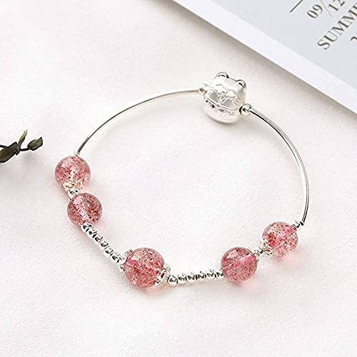 Pulsera Feng Shui Bead Feng shui pulsera natural fresa cristal esterlina plata suerte gato brazalete buena suerte afortunado durazno flor rico amuleto pulsera para mujeres, Pulsera de abalorios de amu