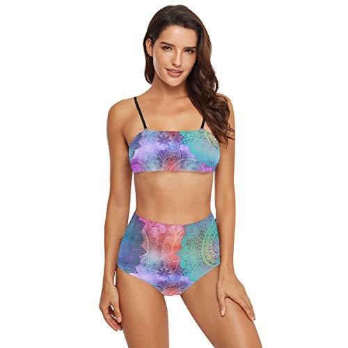 SUGARHE Traje de baño para Mujer,Patrones Sin Fisuras Azulejos Mandalas Vintage Decorativo,Conjunto de Bikini para niñas Dividido(XXL)