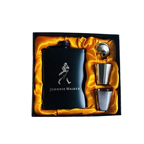 Kolven Mini 8oz Alle zwarte verf Whiskey Flagon Laser 304 RVS alcohol Funnel Jack Heupfles Black Gift Box Set Metal (Kleur: Single jack) Mooie delicate draagbare heupfles. (Color : Set Man)