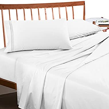 Premium King Sheets Set - White Hotel Luxury 4-Piece Bed Set, Extra Deep Pocket Special Super Fit Fitted Sheet, Best Quality Hypoallergenic Microfiber Linen Soft & Durable Design + Better Sleep Guide