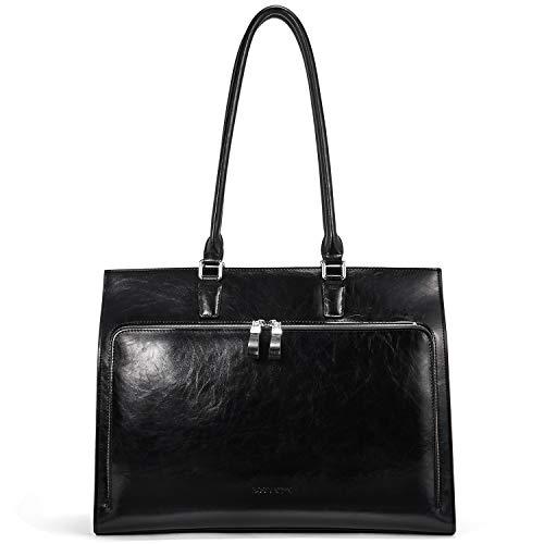 BOSTANTEN Leather Briefcase for Women Vintage 15.6 inch Laptop Bag Business Tote Shoulder Handbag Black
