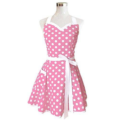 Hyzrz Lovely Sweetheart Retro Kitchen Aprons Woman Girl Cotton Polka Dot Cooking Salon Pinafore Vintage Apron Dress Mother's Gift Lilac