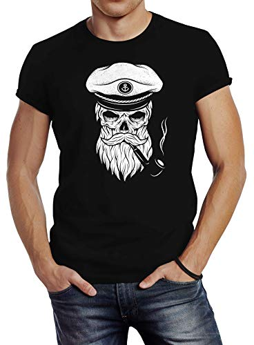 Neverless Herren T-Shirt Totenkopf Kapitän Captain Skull Bard Hipster Original Spirit Seemann Slim Fit schwarz XL