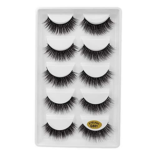 Egurs False Eyelashes - 5 Pair Natural Thick 3D Mink Eyelashes For Makeup Eyelashes Extension G602