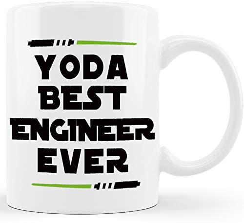 Yoda Best Engineer Ever Engineering Gifts for Engineer Student New Licensed Passer Grad Gag Gift Mechanical Civil Science Math Giftfor Men Women Christmas Graduation Novelty Coffee Mug Tea Cup White