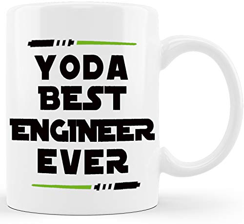 Yoda Best Engineer Ever Engineering Gifts for Engineer Student New Licensed Passer Grad Gag Gift Mechanical Civil Science Math Gift for Men Women Christmas Graduation Novelty Coffee Mug Tea Cup White