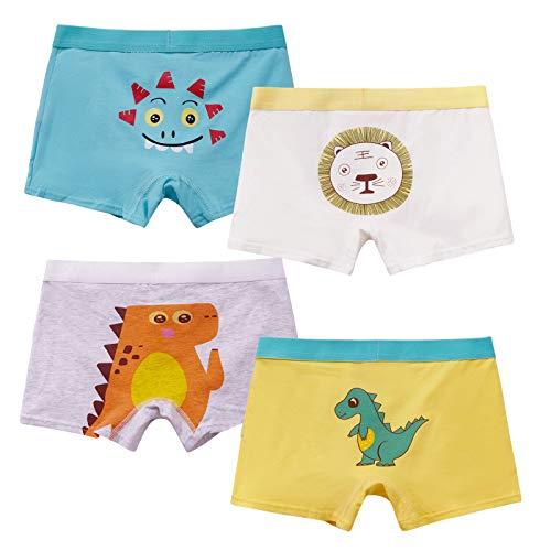 MiSense 4er Pack Jungen Dinosaurier Boxershorts Kinder Unterhosen Baumwolle Unterwäsche für 2-11 Jahre(2-3 Jahre,F015S)