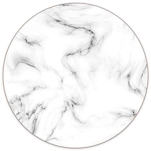 AUDIMI White Marble Mouse Pad Large Round Mouse Mat Non-Slip Rubber Base for Laptop PC Office Working Gaming 8.7 x 8.7 x 0.12 inches