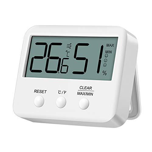 最新版 BRIFIT デジタル温湿度計 室内温度計 高精度 最高最低温湿度表示 温度傾向図表示 摂氏と華氏を切り替え マグネット付 ホワイト