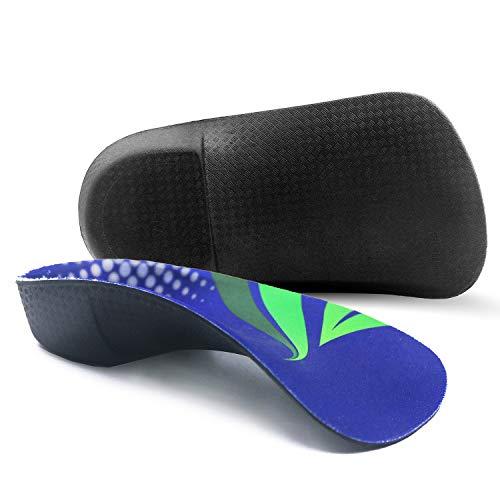 RooRuns Plantillas ortopédicas 3/4 de arco alto | Plantillas de calzado para pies planos [Azul profundo -Medio (6-9.5 UK)]