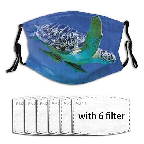 ZELXXXDA Tropen Schildkröte Aquarium Mädchen,Staubwaschbarer wiederverwendbarer Filter und wiederverwendbarer Mundschutz gesicht mit 6 Filtern
