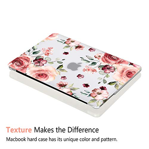 iDonzon Case for MacBook Air 13 inch M1 A2337 A2179 A1932 2020 2019 2018 Release, 3D Effect Matte Clear See Through Hard Cover Compatible Mac Air 13.3 inch with Retina Display Touch ID, Peach Flowers