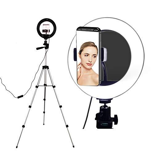 Anillo de luz para selfie con soporte de trípode, anillo de luz con soporte para teléfono, 3 modos de luz para llenar, luz LED para smartphone, YouTube, fotografía o maquillaje (diámetro de 8')