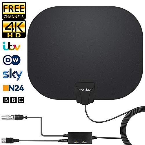 Antenna TV Interna,Antenna HDTV Digitale Inteligente Intensificatore Amplificatore,Segnale Raggio 180KM, Applicabili ai Canali Gratuiti 1080P 4K, con