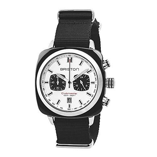 Briston–Clubmaster Sport acetato–Cronografo Nero Quadrante Bianco