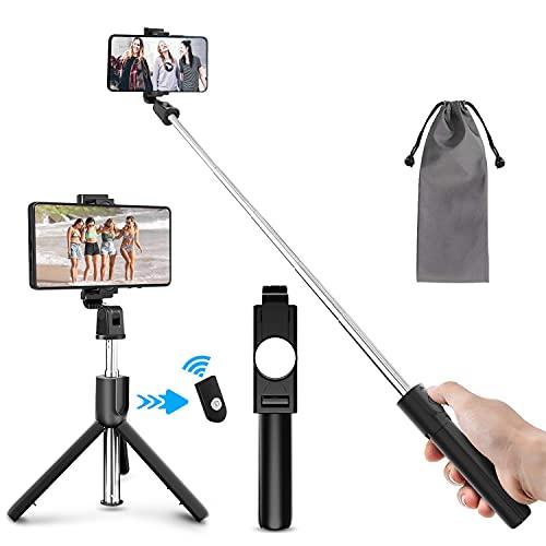 Selfie Stick, Bluetooth Selfiestick Stativ 3 in 1 Selfie-Stange Selfie Stab mit Bluetooth-Fernauslöser Dreifuß erweiterbar Monopod Wireless 360°drehnbar 4.7-6 Zoll für iPhone Samsung usw
