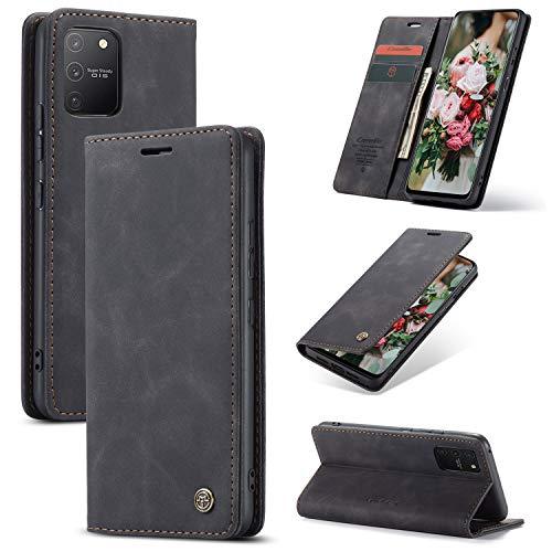 FMPC Handyhülle für Samsung Galaxy A91 Premium Lederhülle PU Flip Magnet Hülle Wallet Klapphülle Silikon Bumper Schutzhülle für Samsung Galaxy S10 lite Handytasche - Schwarz