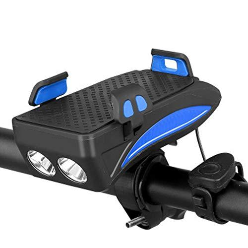4 in 1 Fahrrad-Telefon-Halter MIT Taschenlampe/Horn/Powerbank, Verstellbarer Lenker Telefon Halterung für 4-6,3 Zoll Smartphones (Blau 4000mAh)