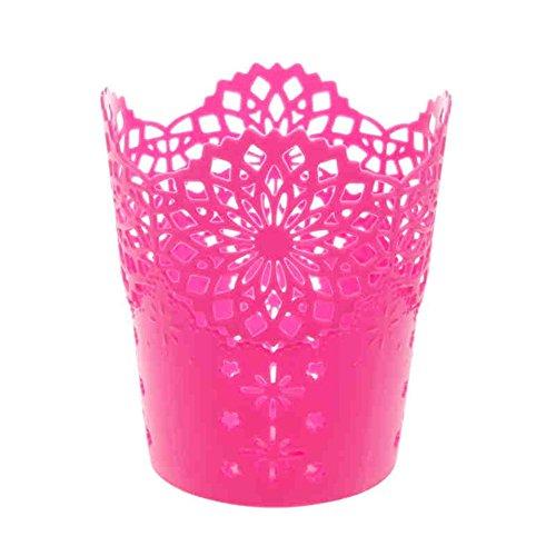 Gespout Creux Fleur Plastique Cylindre Pot à crayons support durable Organiseur Stationery Office Decor Plastique Rouge 10*7.5*11.5cm