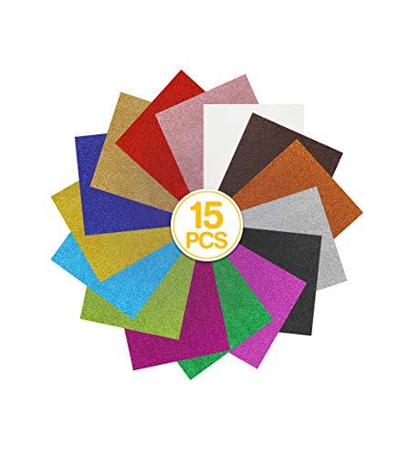 "MerryMade Heat Transfer Vinyl HTV Bundle, Classic Glitter 12""x10"" 15-Pack Assorted Colors Incl. StandardGrip Cutting Mat Teflon Sheet for Heat Press   Easy to Cut, Weed & Transfer"