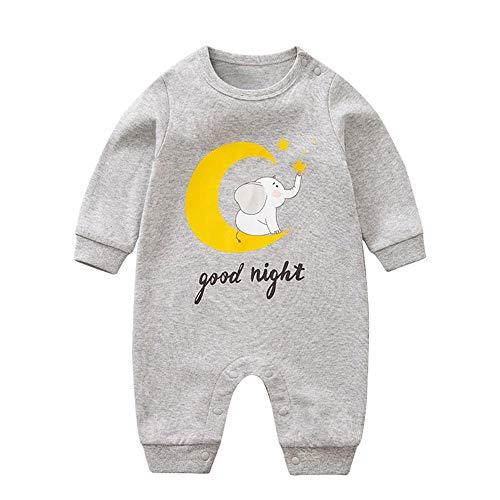 Mono unisex de manga larga para recién nacidos, de una sola pieza, diseño de elefante gris y luna, 12 a 24 meses/90
