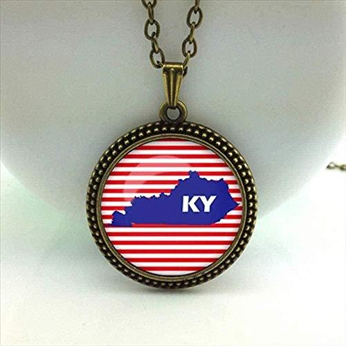 banbeitaotao Collar Clásico Mujeres Collier Collares Maxi Collares Mapa de Kentucky Collar Colgante Mapas de los Estados de EE. UU.