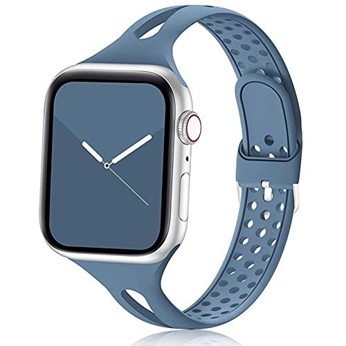 DGDD Relojes Correa Silicona Mujer - Reloj Inteligente Hombre, Correa Repuesto Reloj 38mm/40mm 42mm/44mm Compatible con Apple iWatch 3 4 5 se 6 Brazalete,Azul,42/44mm