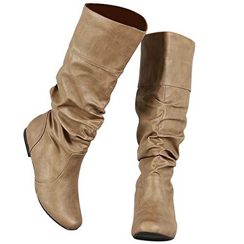 Bigtree Damen Stiefel Kniehoch Slouchy Gemütlich Flach Pull On Lange Stiefel Klassisch Western Kampfstiefel Winter Herbst Schnee Stiefel Khaki