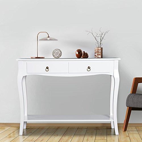 Mesa Consola Aparador Mueble Recibidor Mesa Auxiliar con Cajones y Estante Diseño Elegante 100x33x76cm Madera Color Blanco Brillo