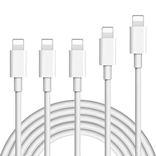 Everdigi Cavo Phone Certificato MFI 5Pezzi (3 * 1m, 1 * 2m, 1 * 3m) Nylon Intrecciato per iPhone 11/X/XR/XS/XS Max/ 8/8 plus/7/7 Plus/ 6/6 plus/5/Pad-Bianco