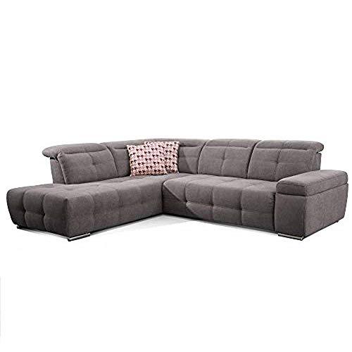 CAVADORE Schlafsofa Mistrel mit Ottomane links / Große Eck-Couch im modernen Design / Mit Bettfunktion / Inkl. verstellbare Kopfteile / Wellenunterfederung / 269 x 77-93 x 228 cm / Dunkelgrau