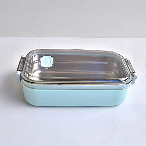 YHZY Fiambrera Acero Inoxidable 900 Ml De Capacidad Calefacción por Microondas Recipientes De Comida Portátiles Adultos Señora Niños-Azul