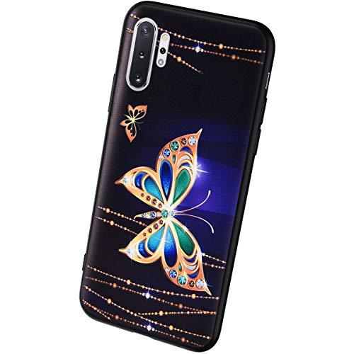 QPOLLY Kompatibel mit Samsung Galaxy Note 10 Pro Hülle TPU Silikon Bunt Linderung Muster Handyhülle Ultra Dünn Weich TPU Schutzhülle Handy Tasche Case für Samsung Galaxy Note 10 Pro,Schmetterling