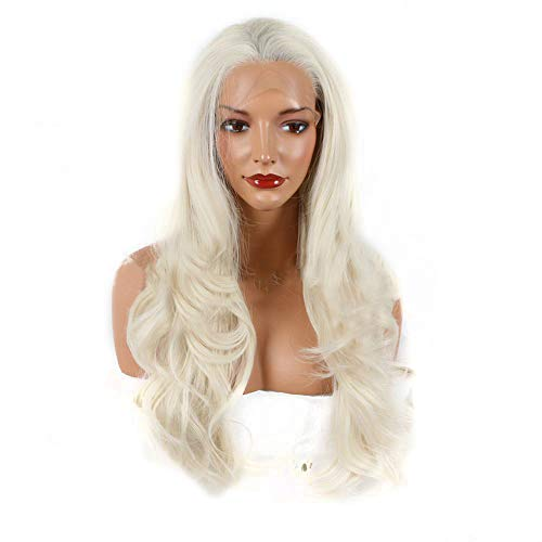 Postizos naturales Fashian Crema de encaje sintético blanco frente Pelucas de pelo rizado Calor seguro Medio atado Onda Larga Cola de caballo para las mujeres (Color : Creamy-white)
