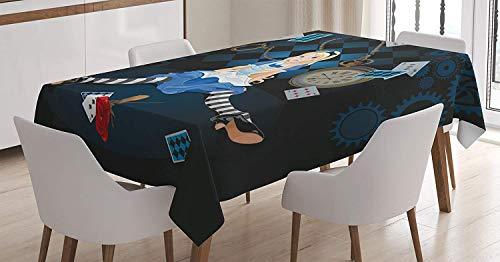 LIS HOME Alice im Wunderland-Tischdecke, gewachsene Größe Alice, die mit Fliegen-Karten und Rosen-kariertem Cartoon, rechteckige Tischabdeckung für Esszimmer-Küchen-Dekor, dunkelblau sitzt