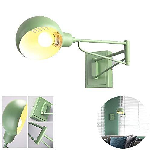 Nordic Rocker Wandlampen, Moderne Minimalistische LED Schmiedeeisen Blau/Grau/Grün/Gelb Cartoon Wandleuchte Kreative Junge Mädchen Lesen Versenkbare Wandleuchte (Color : Green)