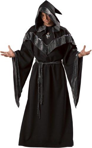 InCharacter Costumes Men's Dark Sorcerer Costume, Full Length Robe, Black, Large
