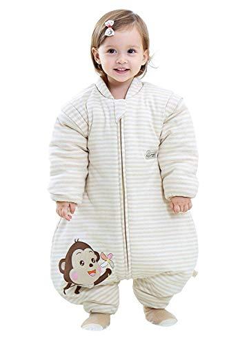 Emmala Baby Slaapzak 3.5 Tog Casual Chic Winter Slaapzak Met Afneembare Mouwen Kids Winter Slaapzak Jongen Meisje Gewatteerde Lange Mouw Slaapzak Aap 100 Lichaamsgrootte 100 110Cm