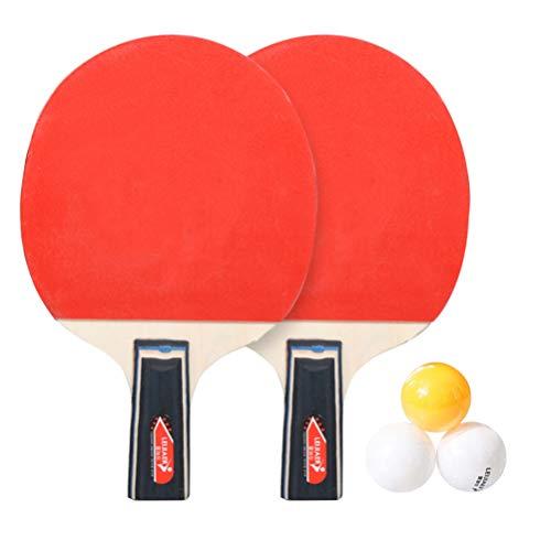 FAVOMOTO Pong Paddle Set Raquete de Tênis de Mesa para 2 Jogadores Raquete de Bastão de Pong Rack para Treinamento de Jogo Interno Ao Ar Livre (Punho de Caneta Punho Curto)