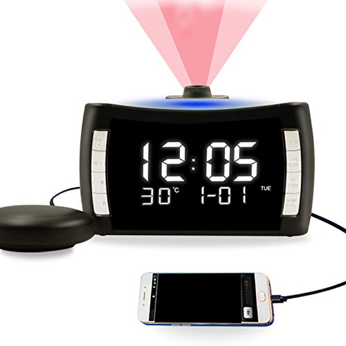 Projection Alarm Clock for Bedroom, WANFH Large Display Digital Clock on Ceiling with Vibration, 2 Loud Alarms with Bed Shaker Snooze,7 Color Light Temperature, 12/24H, USB Charger & Battery Backup