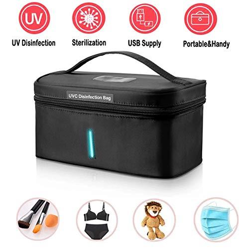 DT UV Sterilisator Kabinett Box Wiederaufladbarer USB-LED-UV-Desinfektionsbeutel für Gesichtsmaske, Smartphone, Rasierer, Spielzeug, Unterwäsche Handtuch Desinfektion,Schwarz